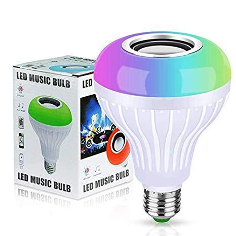 Foco Led Con Parlante Bluetooth Con Luz Blanco Y Colores Rgb