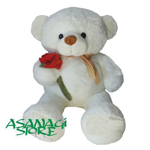 Hermoso Peluche Oso Blanco Con Rosa Importado San Valentin