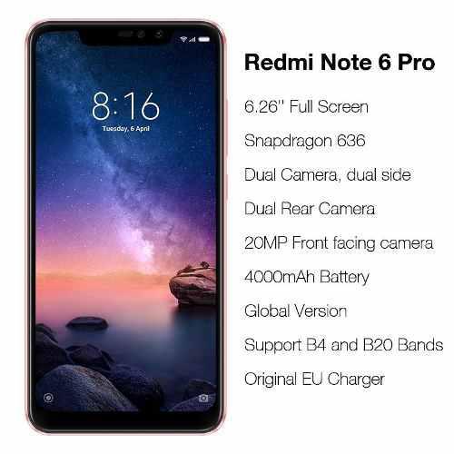 Xiaomi Redmi Note 6 Pro Global 4/64gb Negro En Stock