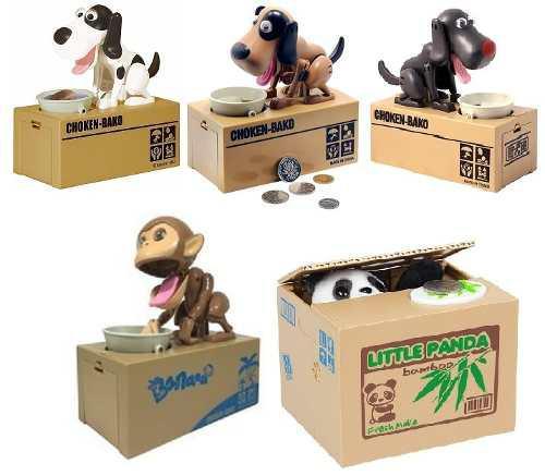 Alcancía Come Monedas, Perro, Oso Panda Y Mono