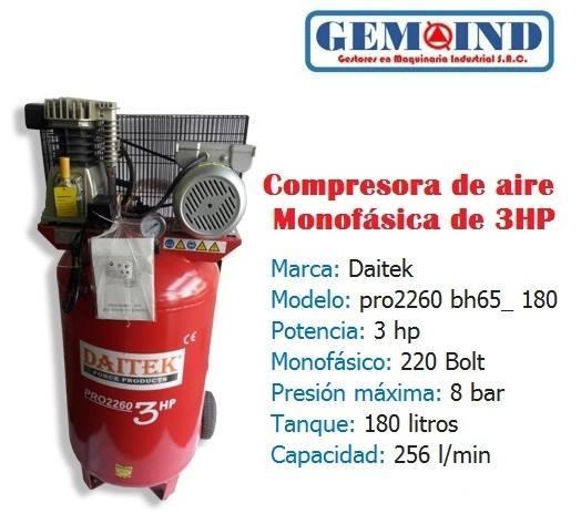 Compresora de Aire Monofasica De 3hp, Tanque 180 litros