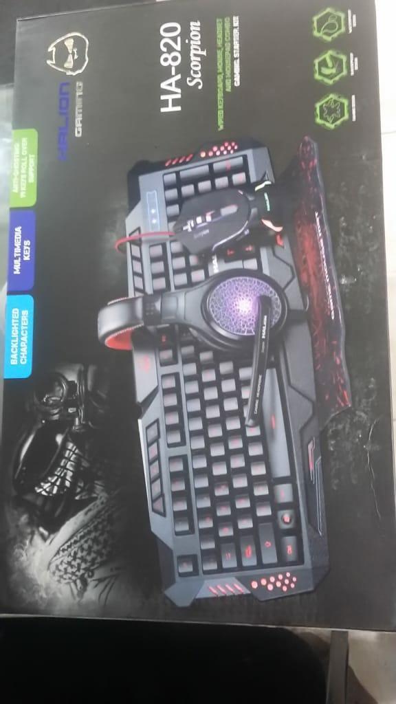 Combo Gamer Audífonos Mouse Pad Teclado
