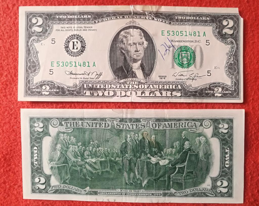 Billete 2 Dolares  Bicentenario