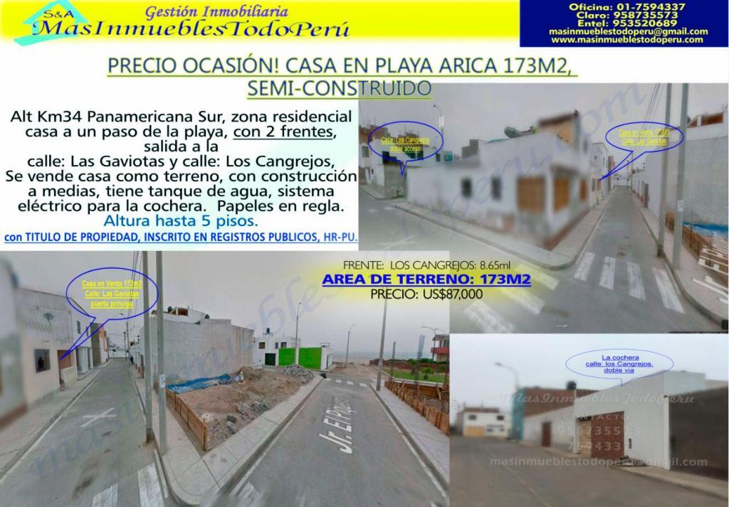 REMATE/CASA EN PLAYA ARICA 173 m2 SEMICONSTRUIDA