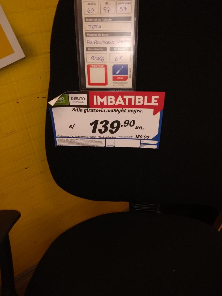 silla giratoria negra para oficinas o escritorios