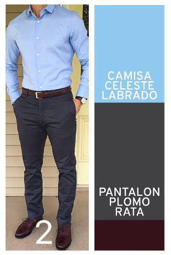 Camisa Slim Fit. + Pantalon Drill Semi Pitillo = 120 Soles