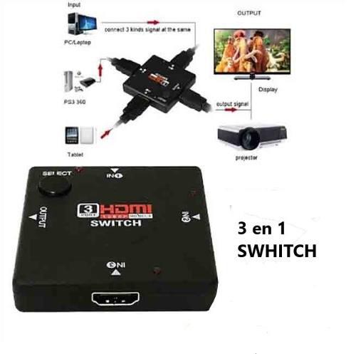 Switch Hdmi 3 Entrada 1 Salidas Full Hd Conmutador Splitter