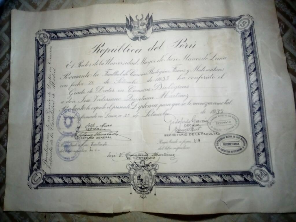 Antigua Diploma San Marcos
