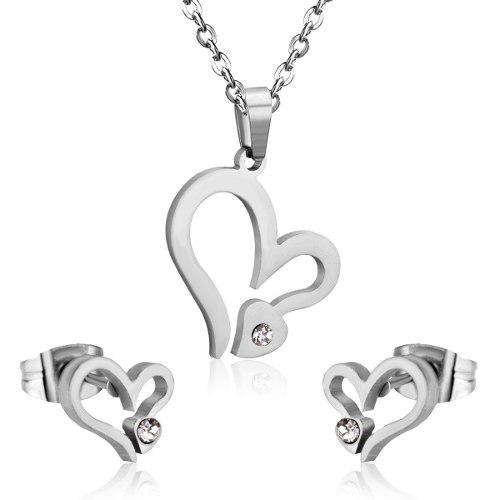 Juego De Collar Corazón Y Aretes Corazón En Acero