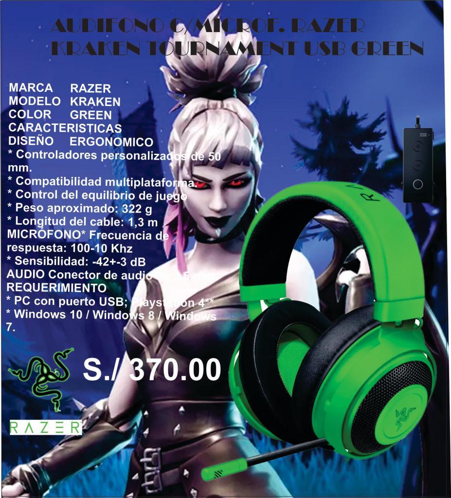AUDIFONO C/MICROF. RAZER KRAKEN TOURNAMENT USB GREEN