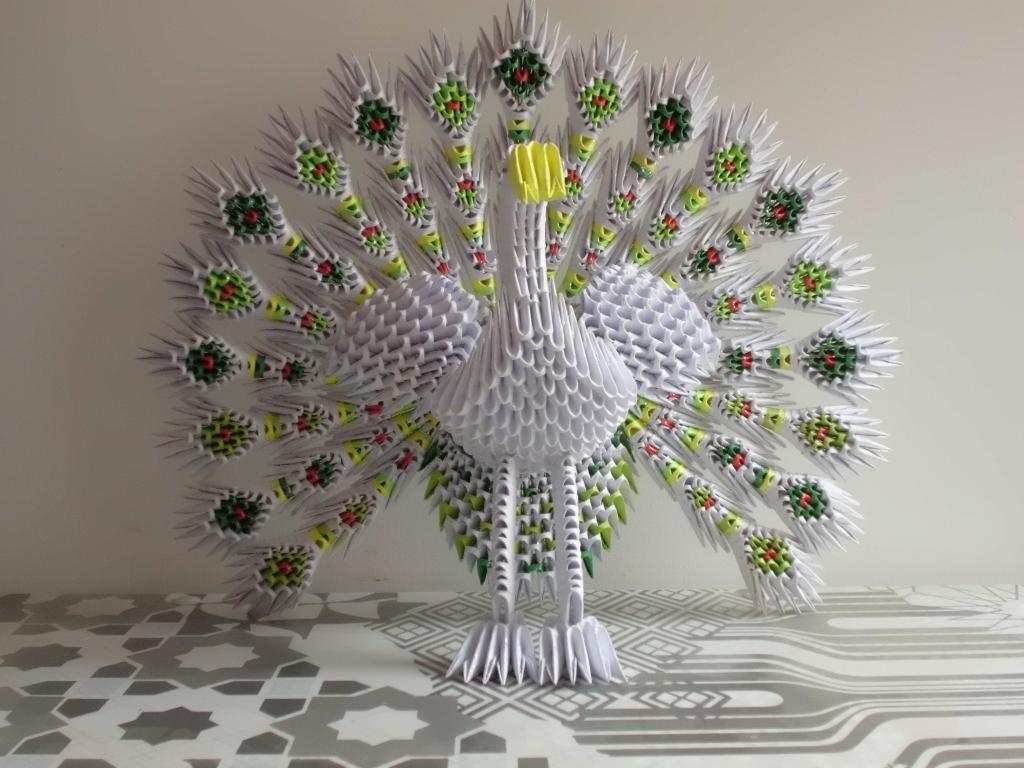 Origami 3d, Pavo Real, Hecho a Mano