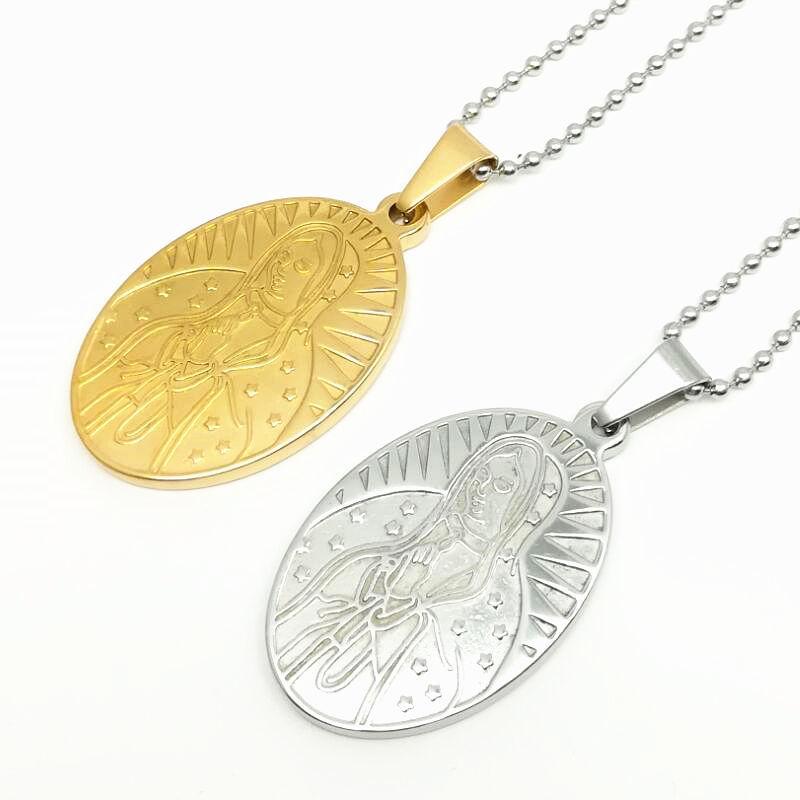 Collar Colgante Medalla De La Virgen María Dorado y