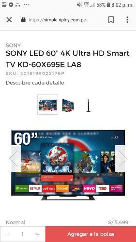 Tv Sony 60 Ultra Hd 4k Kd60x695e Nuevo Exhibicion