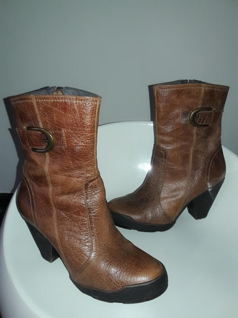Zapatos Botas Tacos de Cuero Y Marca 37