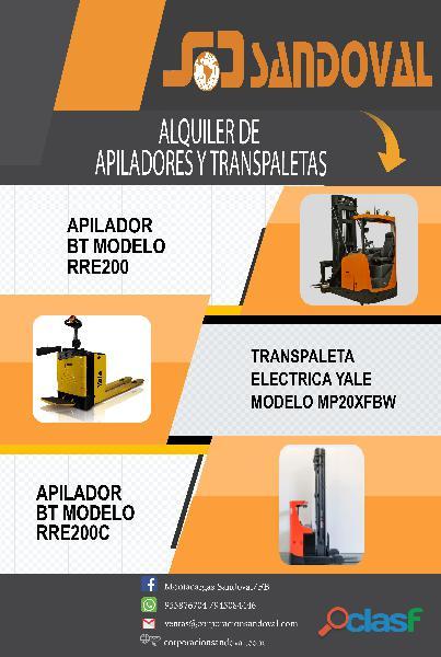 ALQUILER DE APILADORES Y TRANSPALETAS MONTACARGAS SANDOVAL