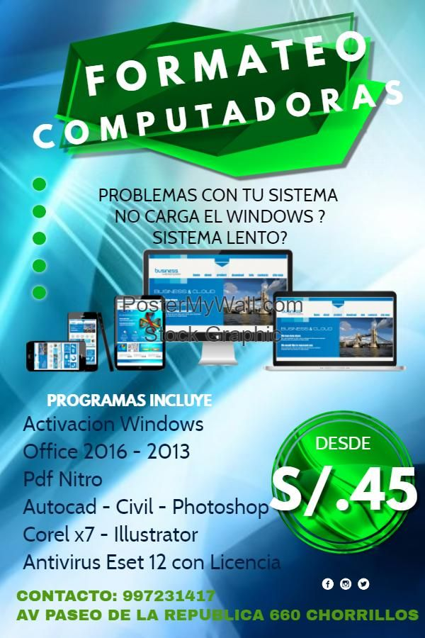 Formateo de Computadoras y Laptops CHORRILLOS WINDOWS 10