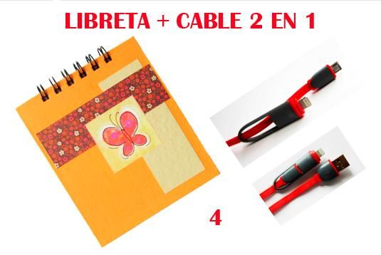 Combo Libreta Hecha A Mano Cable Cargador Usb 2 En 1