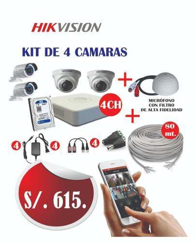 Kit De 4 Cámaras Hd Con Microfono Y 80 Mts Cable