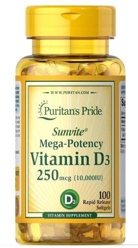 Vitamina D-3 10,000 Iu 100 Cápsulas Americano
