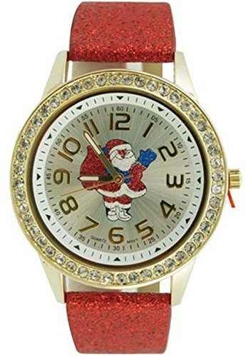 Reloj De Navidad Glitter Band Para Mujer, Rojo, Santa Claus
