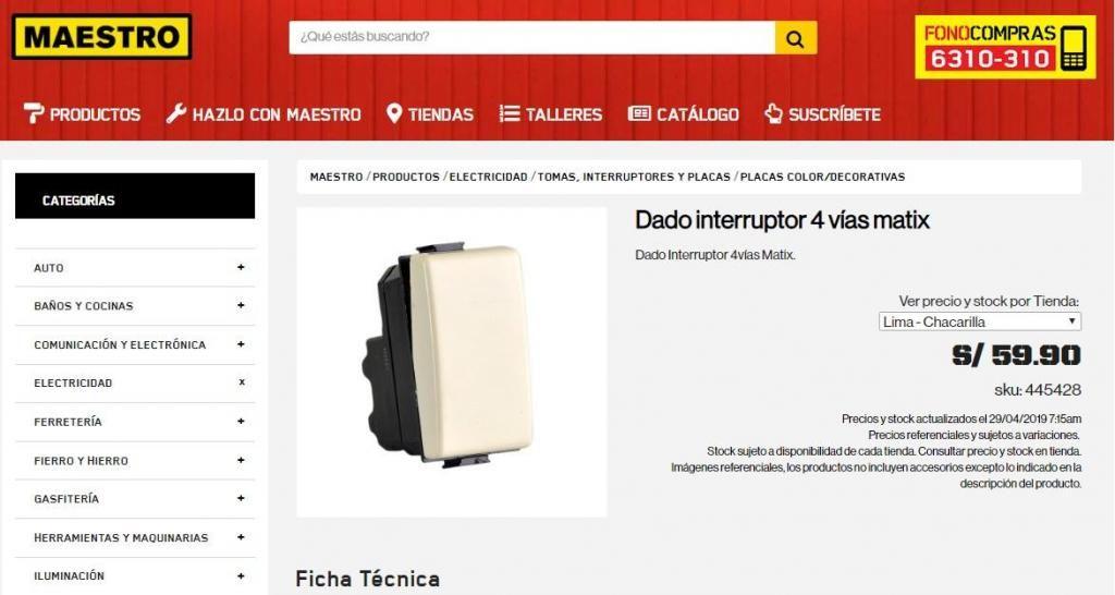 Vendo interruptor de 4 vias - Bticino - Matix - S/ 28