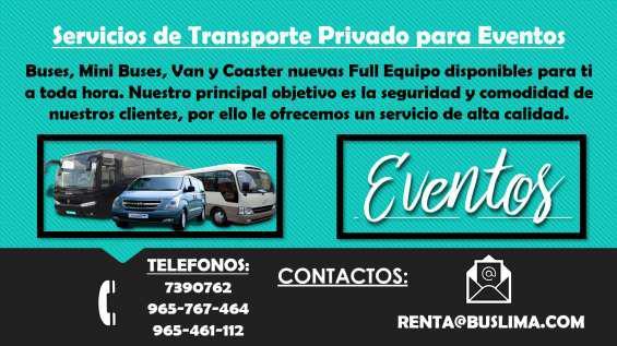 Servicios de transporte privado para eventos en Lima