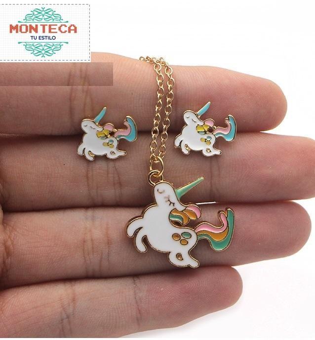 Set De Joyas Unicornio Collar Aretes Caja De Regalo