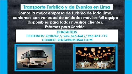 Transporte turístico y de eventos en lima en Lima