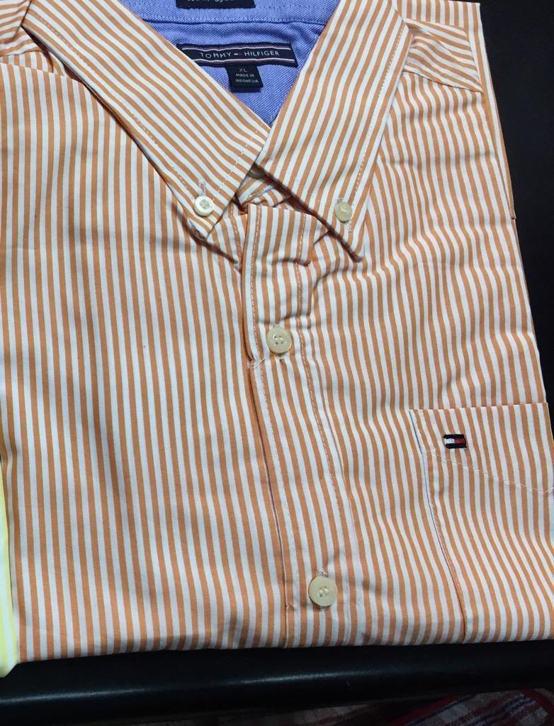 Camisas Tommy Hilfiger a Rayas Naranja Talla