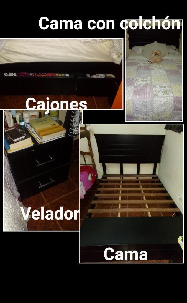Cama con Velador Y Colchón 2 Plazas