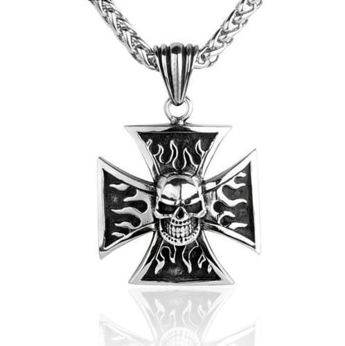 Dije Collar De Acero Skull Flames Iron Cross Para Hombre
