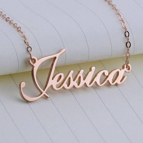 Collar Con Nombre Personalizados De Plata 950 Bañado En Oro