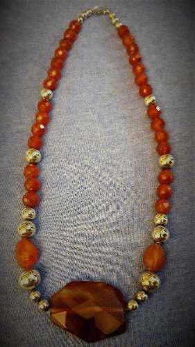 Collar De Plata 950 Con Bello Dije Y Piedras De Ágata Labra