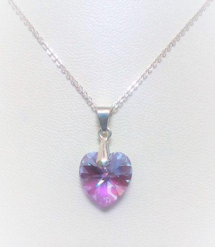 Collar Mujer Corazón Lavanda Cristal Swarovski En Plata 950