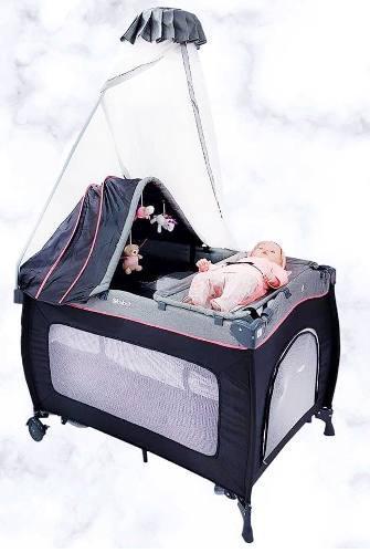 Cuna Corral Mecedora Ebaby Para Bebe Con Tul