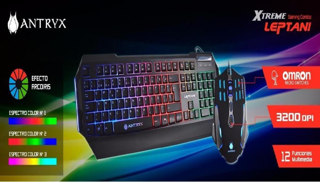 Kit Gamer Teclado/mouse Antryx Leptani. Multicolor Led