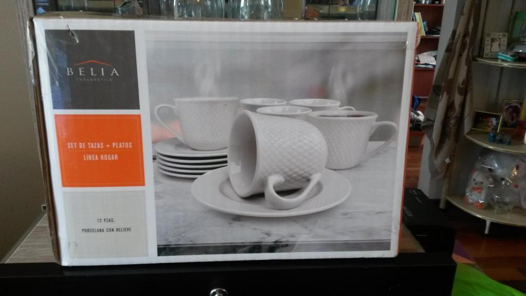 OFERTA JUEGO de tazas 6 y Platos 6 De Porcelana Con Relieve