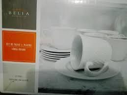 Set de 6 tazas y platos porcelana alto relieve