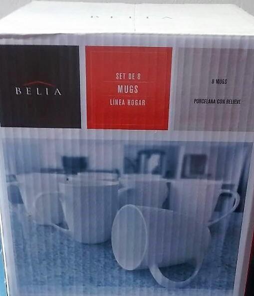 Set de 8 mugs porcelana alto relieve