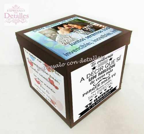 Caja De Regalo Personalizada De Carton Con Fotos Y Mensaje