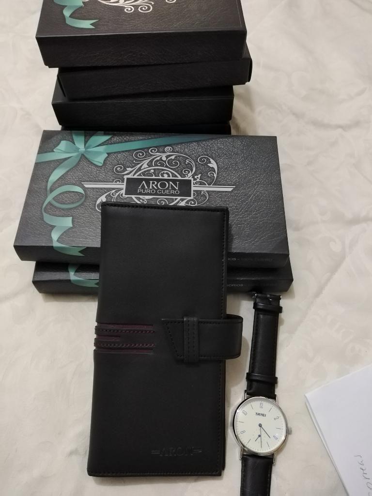 Billetera Más Reloj Skmei Cuero 100% New
