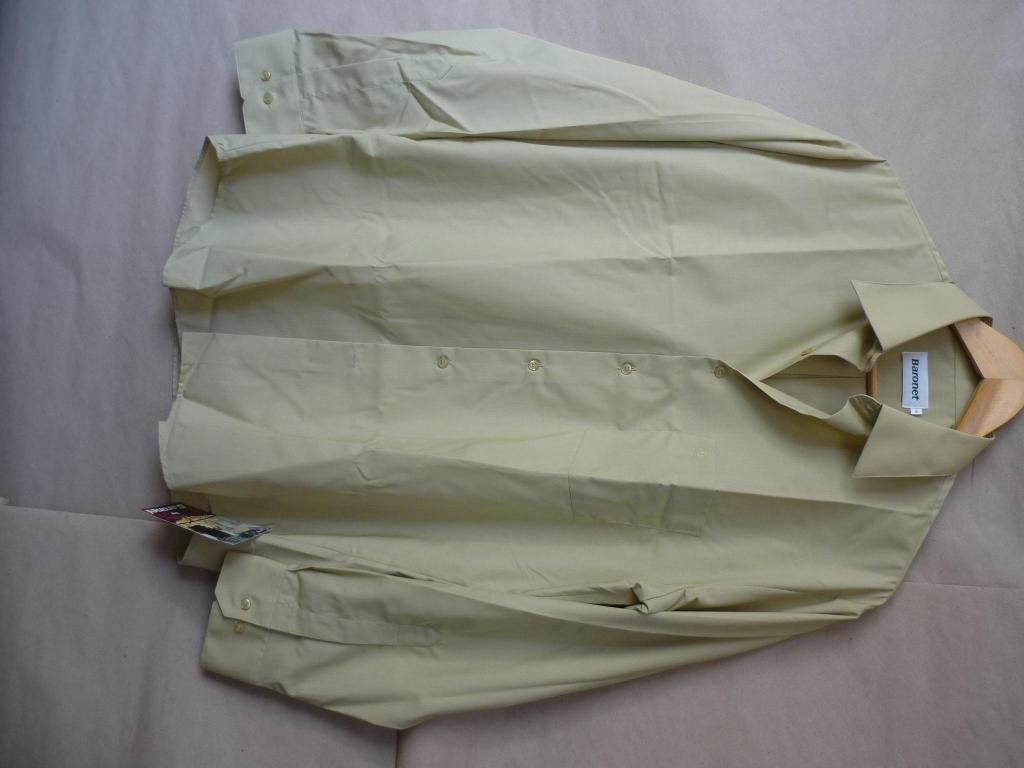 Camisa Varon Baronet Talla L Verde Mostaza Cclm
