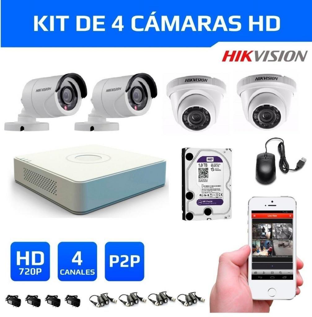 Kit 4 Cámaras Seguridad HikVision HD 720 disco 1tb wd purp