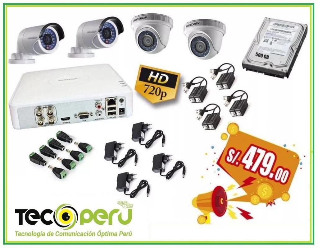 Kit De 04 Cámaras De Seguridad En Hd 720p Hikvision disco