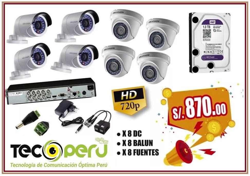 Kit De 08 Cámaras De Seguridad En Hd 720p Hikvision disco