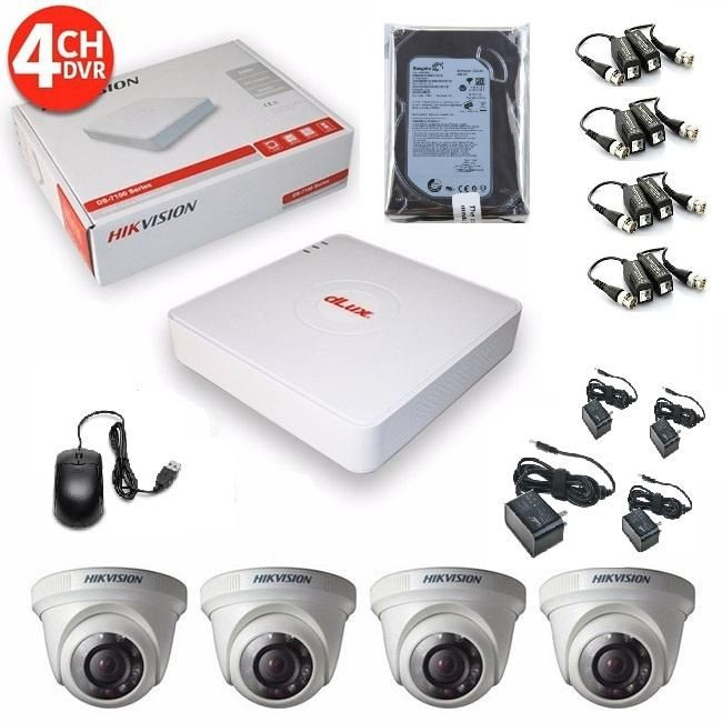 kit de 4 camaras seguridad turbo HD hikvision 720p, disco