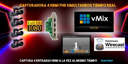 Capturadora De Video 4 Hdmi Para Vmix, Wirecast, Vjdirector
