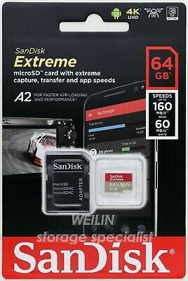 Memoria Micro Sd Sandisk Extreme 4k U3 64 gb 160mb/s A2