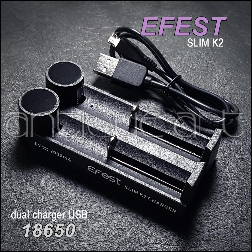 A64 Cargador Dual  Efest Slim K2 Usb