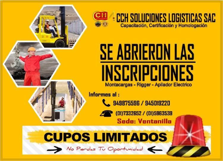 CURSOS OPERADORES DE MONTACARGAS, APILADOR, RIGGER,